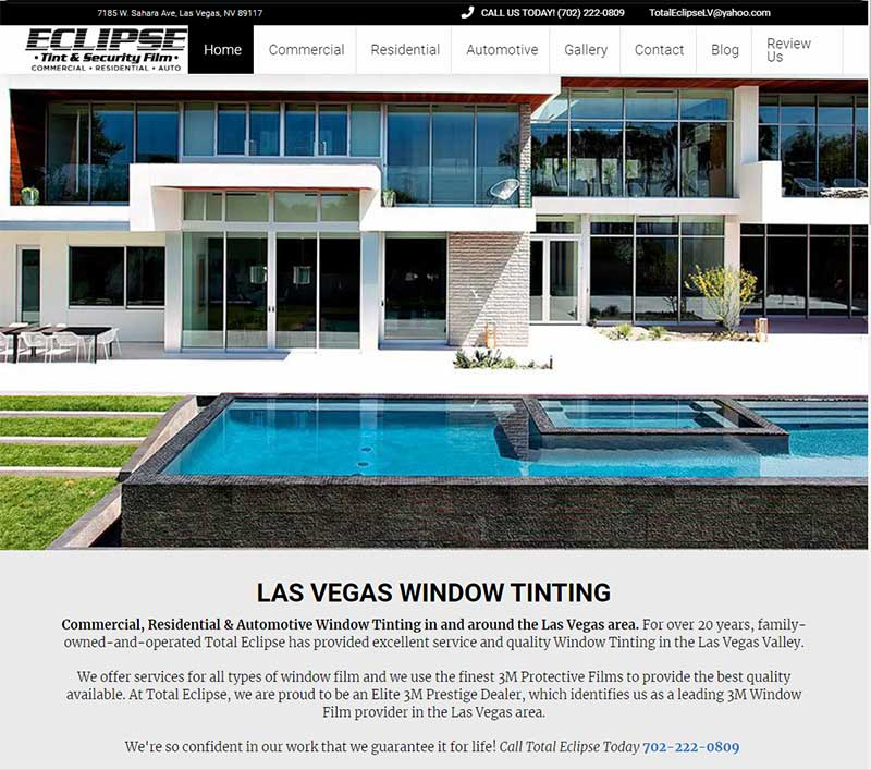 NV Tint SEO improvement old design